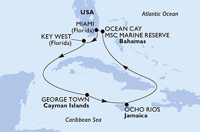 mapa_msc_armonia ocean key karibi iz miamija